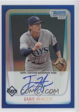 2011 Bowman Draft Picks & Prospects Chrome Prospects Certified Autographs Blue Refractor #BCAP-JHA - Jake Hager /150
