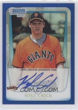 2011 Bowman Draft Picks & Prospects Chrome Prospects Certified Autographs Blue Refractor #BCAP-KCR - Kyle Crick /150