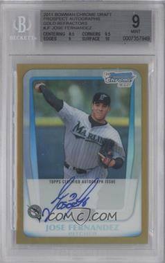 2011 Bowman Draft Picks & Prospects Chrome Prospects Certified Autographs Gold Refractor [Autographed] #BCAP-JF - Jose Fernandez /50 [BGS 9]
