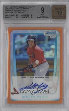 2011 Bowman Draft Picks & Prospects Chrome Prospects Certified Autographs Orange Refractor [Autographed] #BCAP-KW - Kolten Wong /25 [BGS 9]