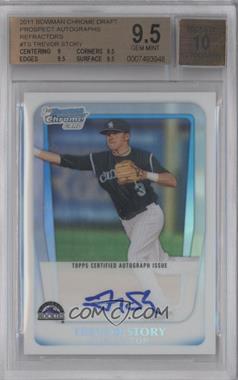 2011 Bowman Draft Picks & Prospects Chrome Prospects Certified Autographs Refractor [Autographed] #BCAP-TS - Trevor Story /500 [BGS9.5]