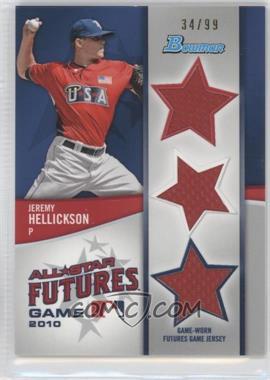 2011 Bowman Future's Game Triple Relics #FGTR-JH - Jeremy Hellickson /99