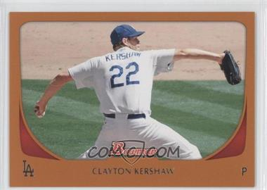 2011 Bowman Orange #65 - Clayton Kershaw /250