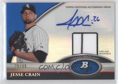 2011 Bowman Platinum - Autograph Relic Refractor - Blue #BAR-JC - Jesse Crain /99