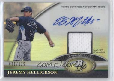 2011 Bowman Platinum Autographed Relic [Autographed] #BAR-JHL - Jeremy Hellickson /115