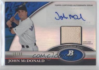 2011 Bowman Platinum Autographed Relic Blue Refractor [Autographed] #BAR-JMC - John McDonald /99