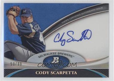 2011 Bowman Platinum Prospect Autographs Blue Refractor [Autographed] #BPA-CS - Cody Scarpetta /99