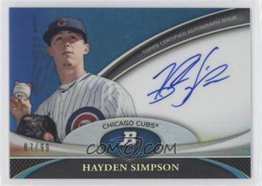 2011 Bowman Platinum Prospect Autographs Blue Refractor [Autographed] #BPA-HS - Hayden Simpson /99