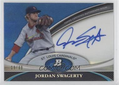 2011 Bowman Platinum Prospect Autographs Blue Refractor [Autographed] #BPA-JSW - Jordan Swaggerty /99