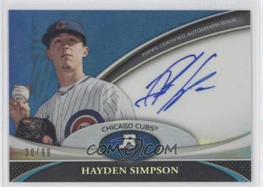 2011 Bowman Platinum Prospect Autographs Blue Refractor #BPA-HS - Hayden Simpson /99