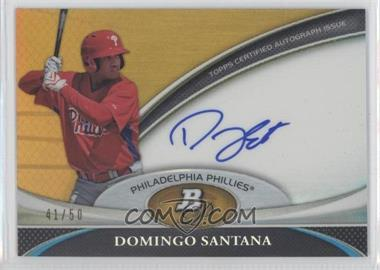 2011 Bowman Platinum Prospect Autographs Gold Refractor #BPA-D5 - Domingo Santana /50
