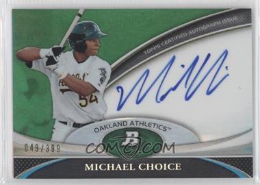 2011 Bowman Platinum Prospect Autographs Green Refractor #BPA-MC - Michael Choice /399