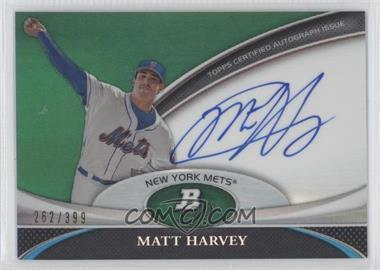 2011 Bowman Platinum Prospect Autographs Green Refractor #BPA-MH - Matt Harvey /399