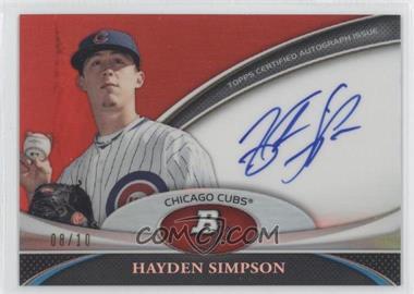 2011 Bowman Platinum Prospect Autographs Red Refractor [Autographed] #BPA-HS - Hayden Simpson /10