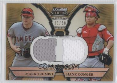 2011 Bowman Sterling Box Loader Dual Relics Gold Refractors #DRB-TC - Mark Trumbo, Hank Conger /50