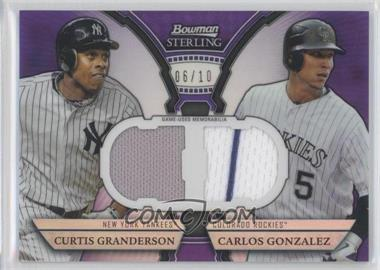 2011 Bowman Sterling Box Loader Dual Relics Purple Refractors #DRB-GG - Curtis Granderson, Carlos Gonzalez /10