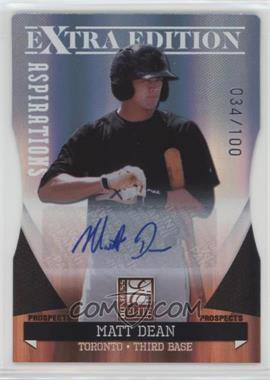 2011 Donruss Elite Extra Edition - Autographed Prospects - Die-Cut Aspirations #P-32 - Matt Dean /100