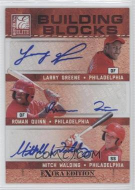2011 Donruss Elite Extra Edition - Building Blocks Trios - Signatures [Autographed] #10 - Larry Greene, Roman Quinn, Mitch Walding /25