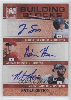 2011 Donruss Elite Extra Edition - Building Blocks Trios - Signatures [Autographed] #4 - Adrian Houser, George Springer, Miles Hamblin /25