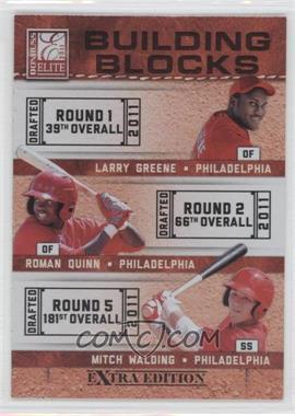 2011 Donruss Elite Extra Edition - Building Blocks Trios #10 - Larry Greene, Mitch Walding, Roman Quinn