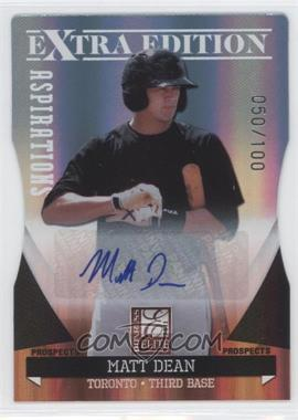 2011 Donruss Elite Extra Edition Autographed Prospects Die-Cut Aspirations #P-32 - Matt Dean /100