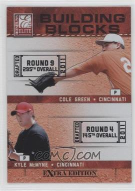 2011 Donruss Elite Extra Edition Building Blocks Dual #15 - Cole Green, Kyle McMyne