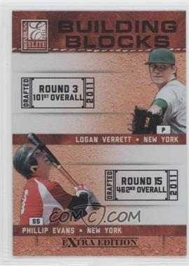 2011 Donruss Elite Extra Edition Building Blocks Dual #6 - Phillip Evans, Logan Verrett
