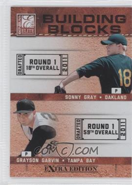 2011 Donruss Elite Extra Edition Building Blocks Quads #1 - Aaron Westlake, Grayson Garvin, Corey Williams, Sonny Gray
