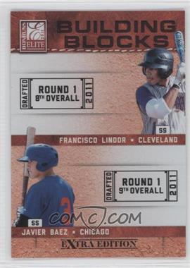 2011 Donruss Elite Extra Edition Building Blocks Quads #2 - Francisco Lindor, Javier Baez, Jake Hager, Levi Michael