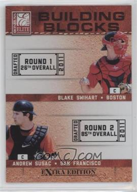 2011 Donruss Elite Extra Edition Building Blocks Quads #6 - Andrew Susac, Jake Lowery, Blake Swihart, John Hicks