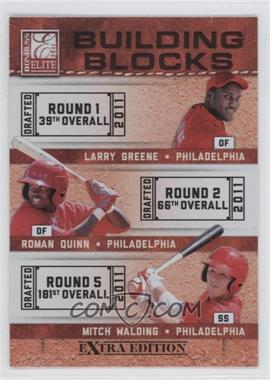 2011 Donruss Elite Extra Edition Building Blocks Trios #10 - Larry Greene, Mitch Walding, Roman Quinn