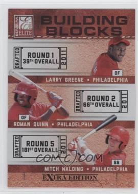 2011 Donruss Elite Extra Edition Building Blocks Trios #10 - Larry Greene, Mitch Walding, Roman Quinn