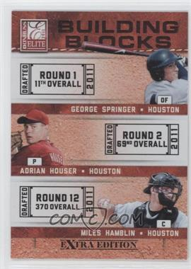 2011 Donruss Elite Extra Edition Building Blocks Trios #4 - Miles Hamblin, Adrian Houser, George Springer