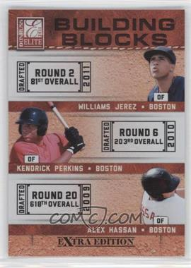2011 Donruss Elite Extra Edition Building Blocks Trios #7 - Kendrick Perkins, Williams Jerez, Alex Hassan