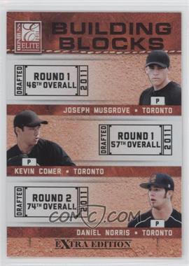 2011 Donruss Elite Extra Edition Building Blocks Trios #9 - Daniel Norris, Joseph Musgrove, Kevin Comer