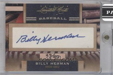 2011 Donruss Limited Cuts Cut Signatures - [Base] - [Autographed] #27 - Billy Herman /49