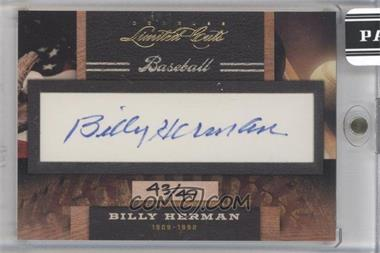2011 Donruss Limited Cuts Cut Signatures [Autographed] #27 - Billy Herman /49