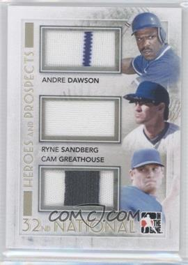 2011 In the Game Heroes and Prospects - National Convention Baseball Redemption Memorabilia #HPBR-43 - Andre Dawson, Ryne Sandberg, Cam Greathouse