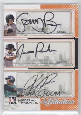2011 In the Game Heroes and Prospects Affiliation Silver [Autographed] #AF-16 - Gary Brown, Jarrett Parker, Francisco Peguero