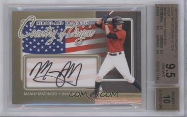 2011 In the Game Heroes and Prospects Country of Origin Gold [Autographed] #COO-MMA - Manny Machado /10 [BGS 9.5]