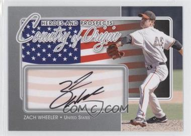 2011 In the Game Heroes and Prospects Country of Origin Silver [Autographed] #COO-ZW - Zack Wheeler