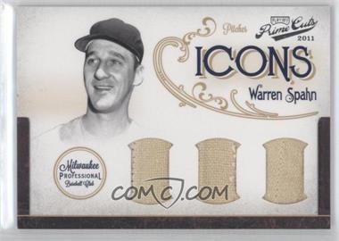 2011 Playoff Prime Cuts - Icons - Trios Materials [Memorabilia] #12 - Warren Spahn /10