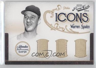 2011 Playoff Prime Cuts Icons Trios Materials [Memorabilia] #12 - Warren Spahn /10