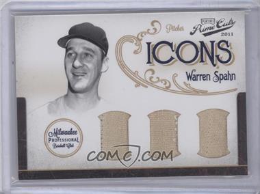 2011 Playoff Prime Cuts Icons Trios Materials [Memorabilia] #12 - Warren Spahn /10