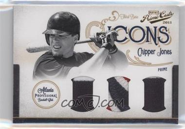 2011 Playoff Prime Cuts Icons Trios Materials Prime [Memorabilia] #27 - Chipper Jones /5