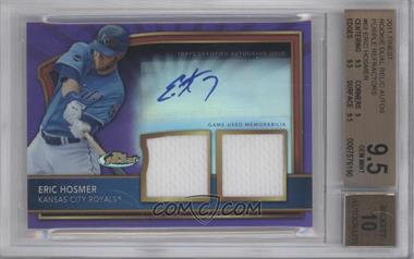 2011 Topps Finest Purple Refractor Rookie Autographed Dual Relics [Autographed] #63 - Eric Hosmer /5 [BGS 9.5]