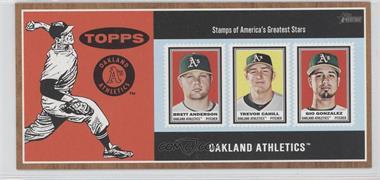 2011 Topps Heritage Box Loader Stamp Album #ACG - Brett Anderson, Trevor Cahill, Gio Gonzalez
