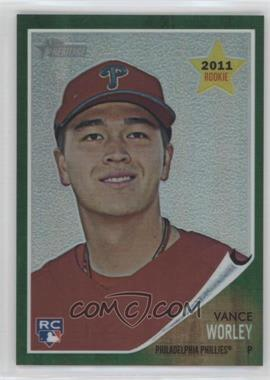 2011 Topps Heritage Chrome - [Base] - Green Border Refractor #C54 - Vance Worley