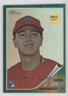 2011 Topps Heritage Chrome Green Border Refractor #C54 - Vance Worley