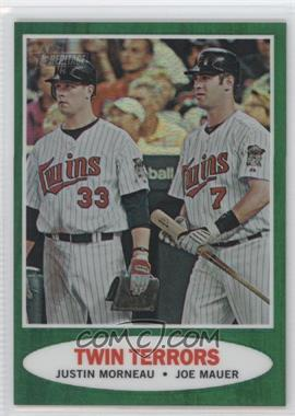 2011 Topps Heritage Chrome Green Border Refractor #C83 - Justin Morneau, Joe Mauer